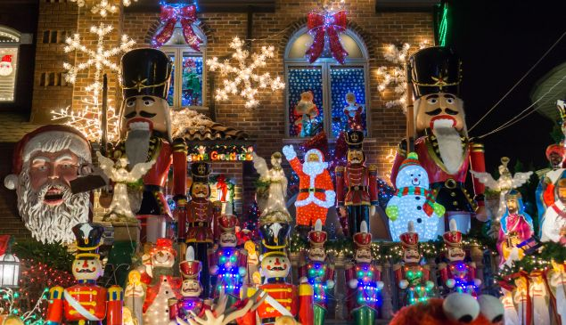 Crowds of tourists and even New Yorkers descend on the Dyker Heights neighborhood of Brooklyn in New York to view the extravagant display of Christmas lights on residents' homes.