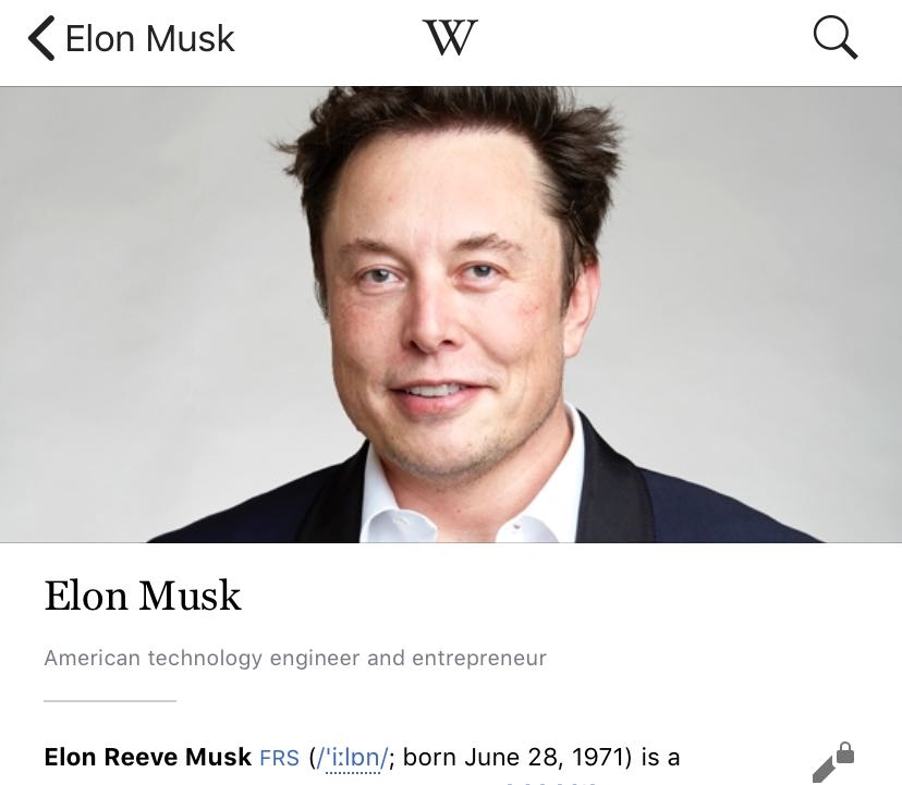 Elon Musk Says His Wikipedia Page Is 'Insanely' Inaccurate