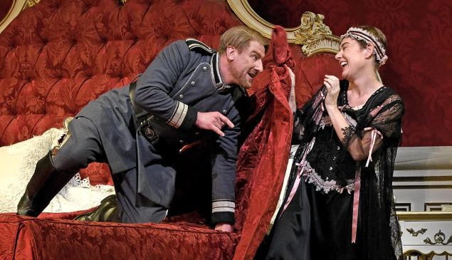 Sexy beast Ochs (Günther Groissböck) tries out his moves on the disguised Octavian (Magdalena Kožená).