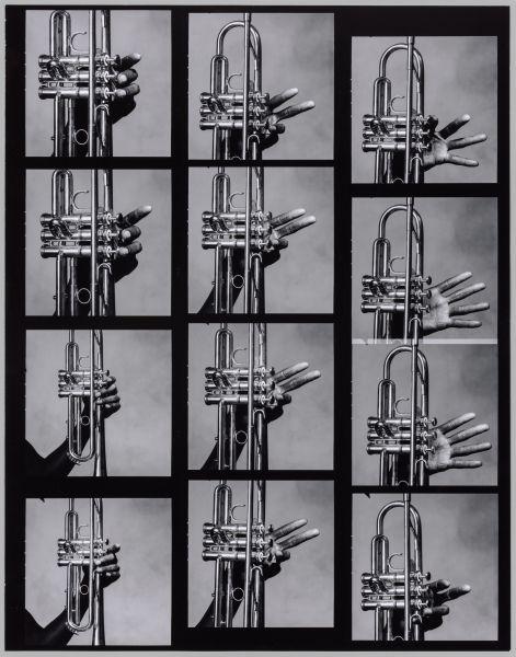 Irving Penn, <em>12 Hands of Miles Davis and His Trumpet, New York</em>, 1986, printed 1999. Gelatin silver print, selenium toned.
