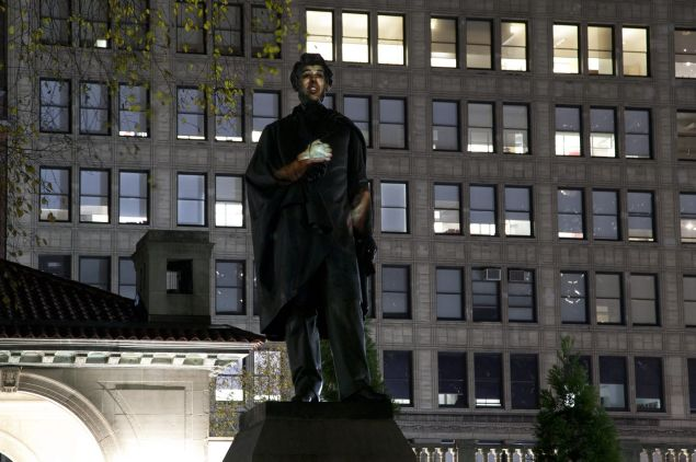 Krzysztof Wodiczko's <em>Abraham Lincoln: War Veteran </em>projection at Union Square in 2012.