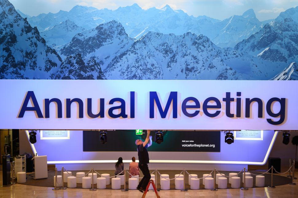 Staff set the lights in the congress center ahead of the opening of the 2019 World Economic Forum (WEF) annual meeting on January 20, 2019 in Davos, Switzerland.
