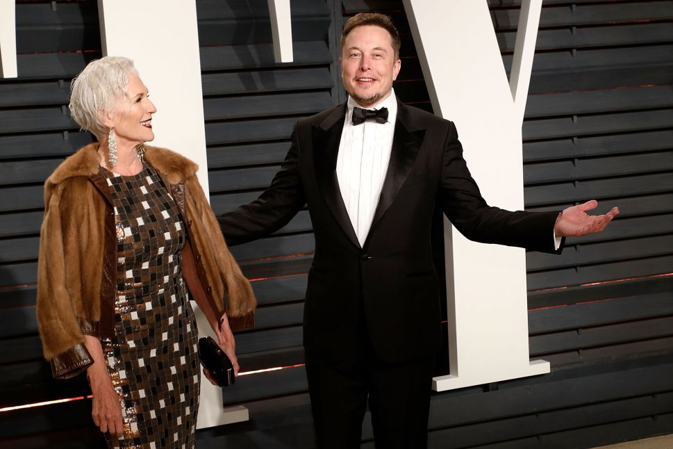 Maye Musk and Elon Musk attend the 2017 Vanity Fair Oscar Party on February 26, 2017 in Beverly Hills, California.