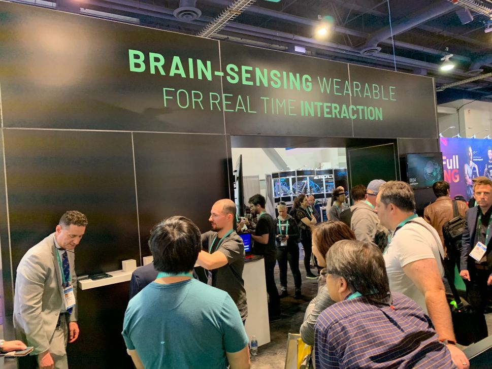 The curious crowd at NextMind's booth at CES 2020.