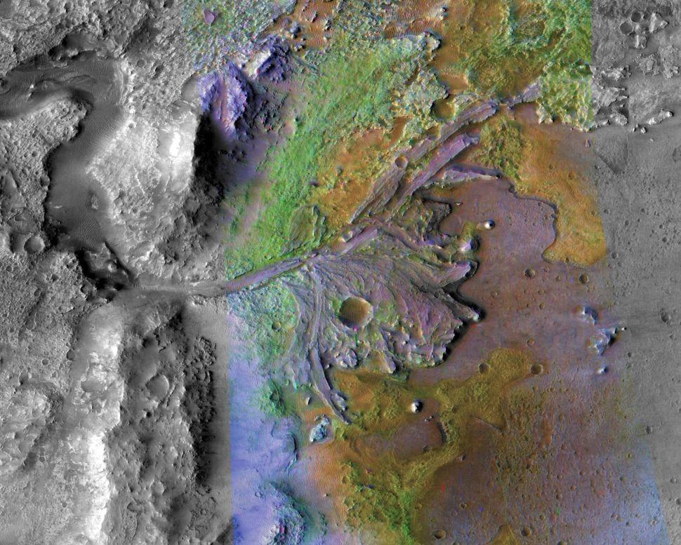 Jezero crater, Mars 2020's landing site.