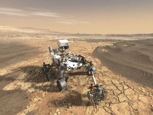 This illustration depicts NASA's Mars 2020 rover on the surface of Mars.