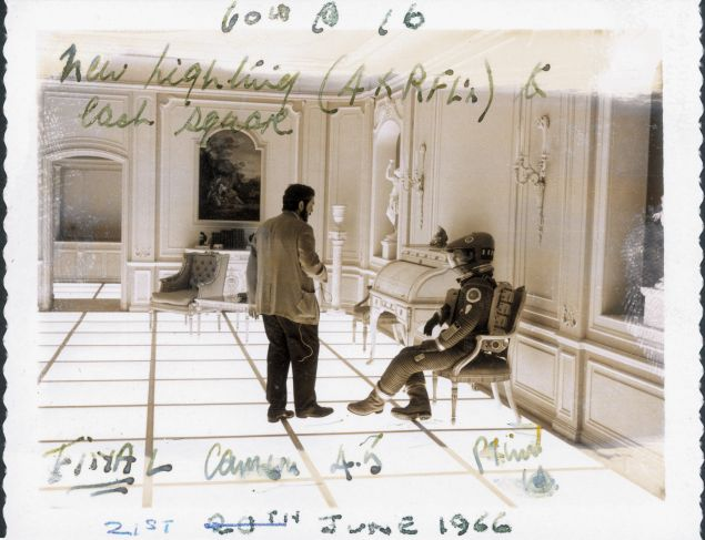 annotated production still depicting Stanley Kubrick and Keir Dullea on the set of 2001: A Space Odyssey.