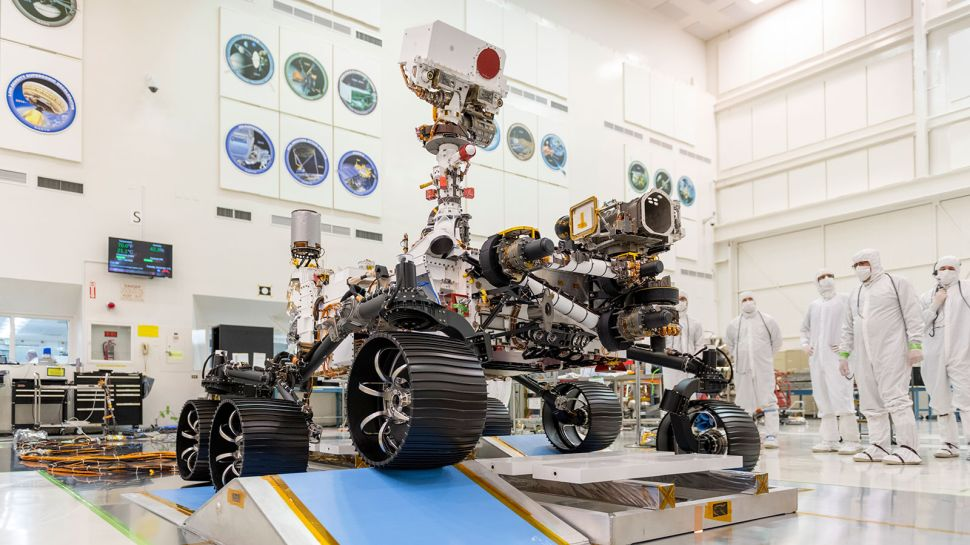 Engineers observed the first driving test for NASA's Mars 2020 rover on Dec. 17, 2019.