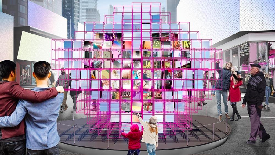 Times Square's New Public Sculpture Is a Huge, Mirrored Heart With a Hidden Surprise