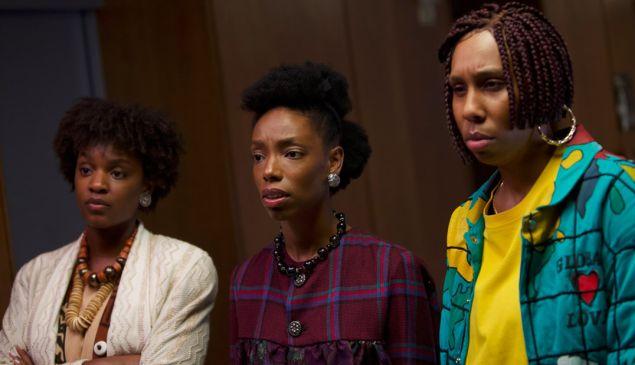 Yaani King Mondschein, Elle Lorraine, and Lena Waithe in Bad Hair