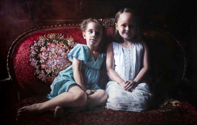 Barbora Kysilkova, Chloe & Emma, 2013. Oil on canvas.