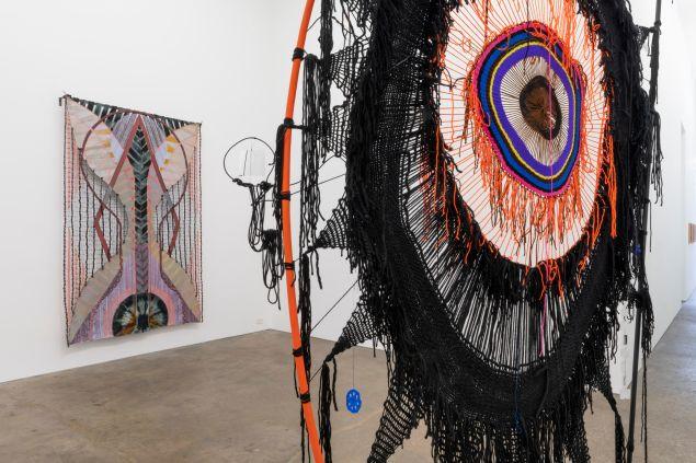 Installation view of Julia Bland and Michelle Segre's work at Derek Eller Gallery.