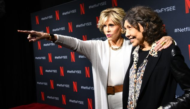 Jane Fonda and Lily Tomlin promoting Netflix's Grace and Frankie