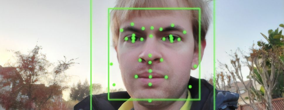 Output of an artificial intelligence system from Google Vision, performing facial recognition.