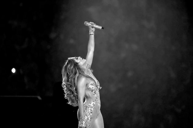 Jennifer Lopez performs onstage during the Pepsi Super Bowl LIV Halftime Show at Hard Rock Stadium