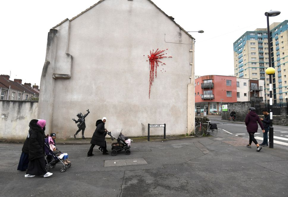 Banksy Unveils Valentine's Day Mural in His Hometown of Bristol