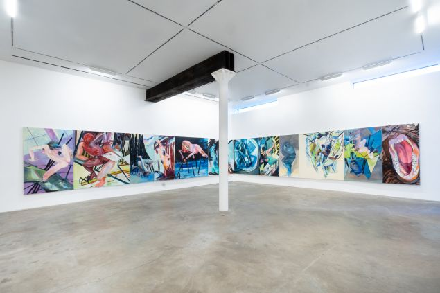 Installation view of Juanita McNeely's work at James Fuentes.