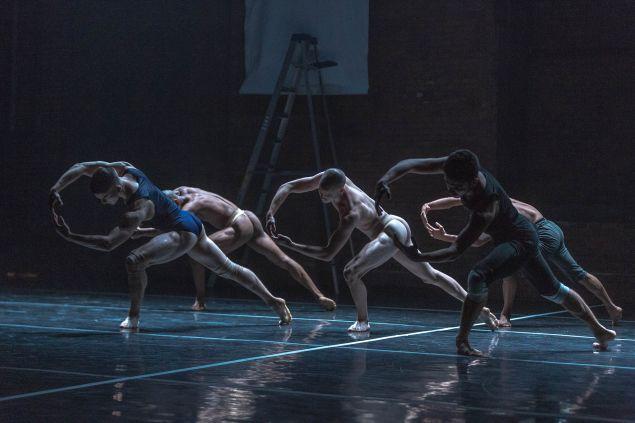 Christopher Kinsey, David Maurice, Sean Howe, Tariq Mitri, Paul Morland rehearsing Madboots Dance.