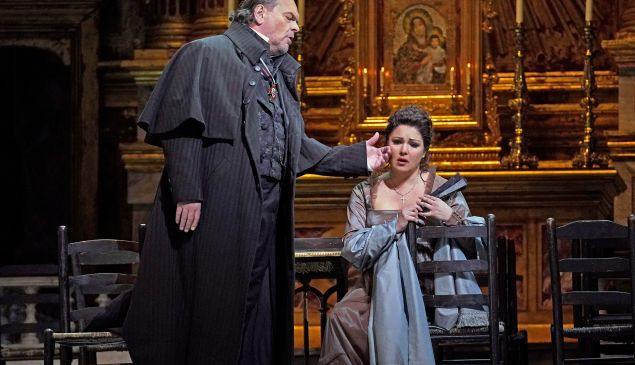 """Michael Volle as Scarpia and Anna Netrebko in the title role of Puccini's """"Tosca."""""""
