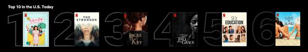 Netflix top 10 list homepage subscribers