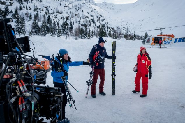 Julia Louis-Dreyfus and Will Ferrell on the set of Downhill