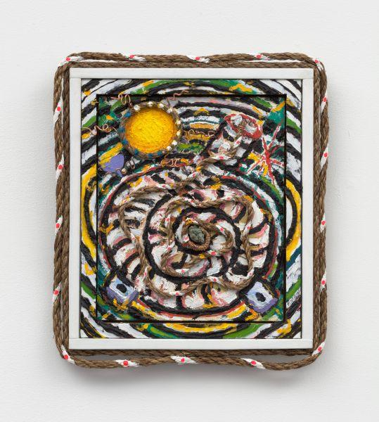 Daniel Rios Rodriguez, <em>Early Life</em>, 2020. Oil and mixed media on wood panel