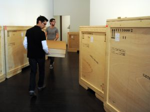 Fine art shipping crates in transit.