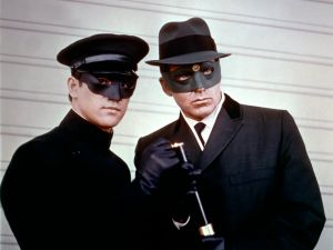 Bruce Lee and Van Williams on the set of TV series The Green Hornet
