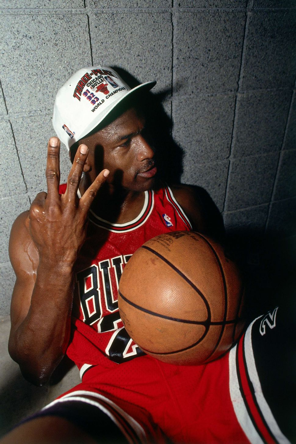 Michael Jordan of the Chicago Bulls celebrates winning the NBA Championship after Game Six of the 1993 NBA Finals