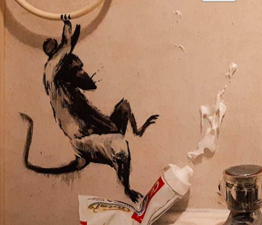 Even Banksy's Working From Home: The Street Artist Shares a Bathroom Makeover