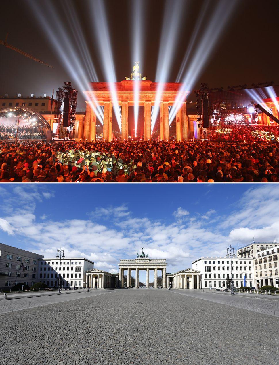 Brandenburg Gate before and after coronavirus