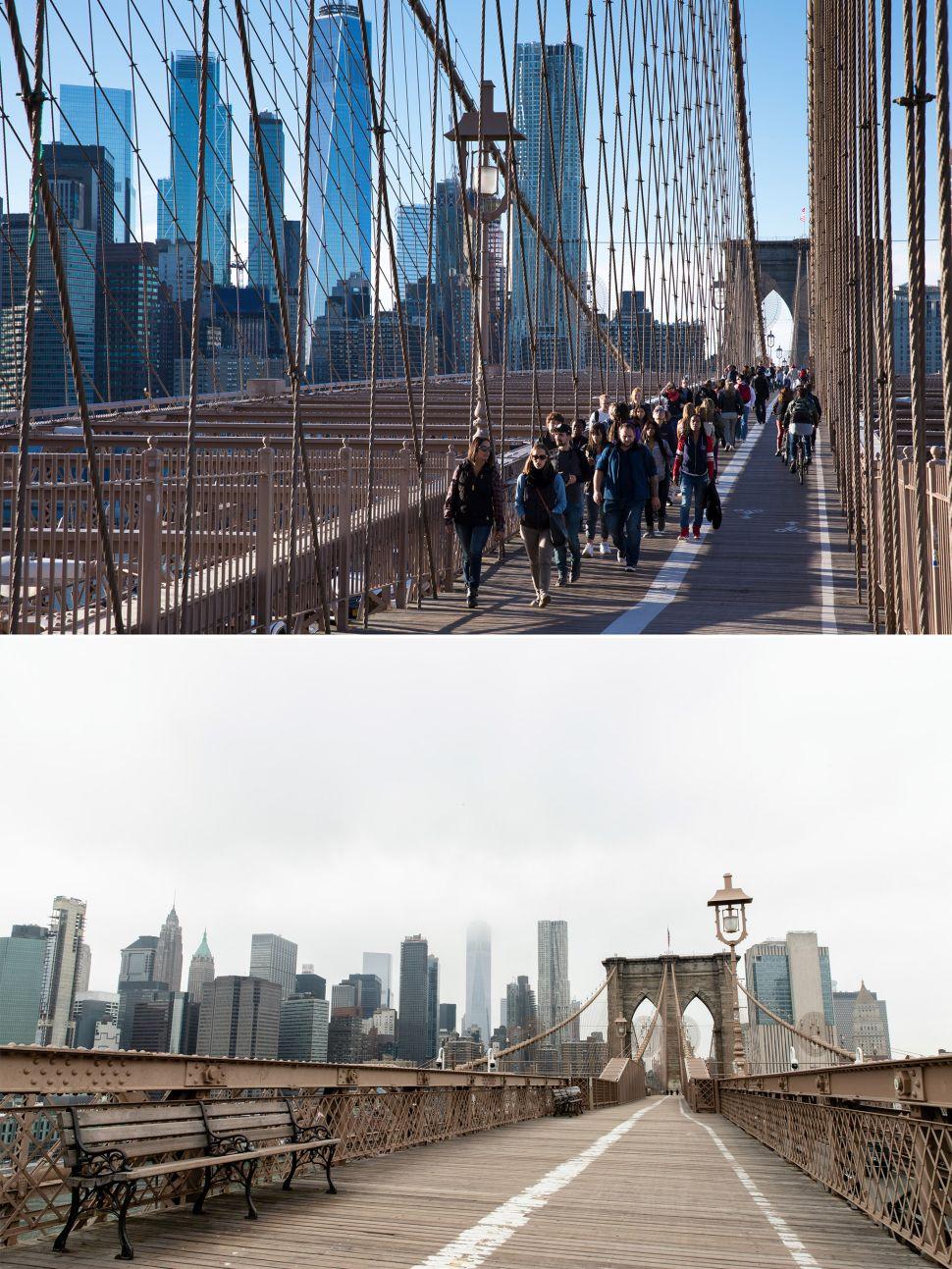Brooklyn Bridge before and after coronavirus