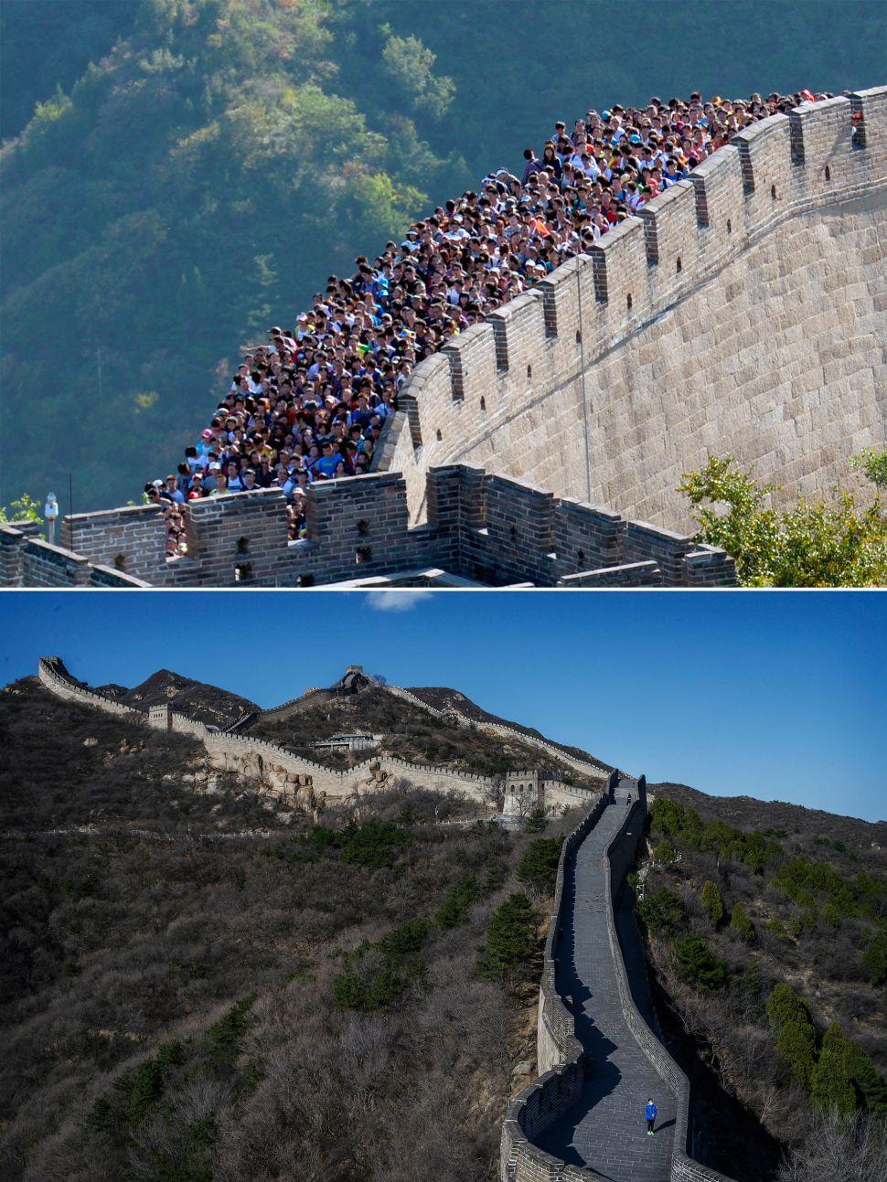 Great Wall of China before and after coronavirus