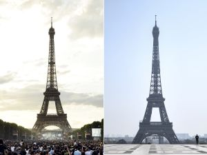 Eiffel Tower before and after coronavirus