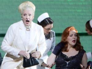 """The Empress (Adrianne Pieczonka) begins her spiritual journey in Munich's video of """"Die Frau ohne Schatten""""."""