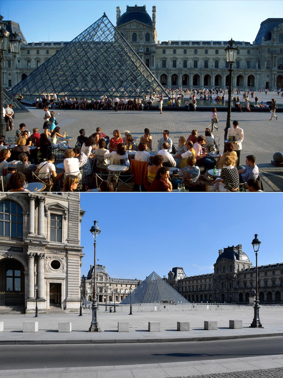 Louvre Museum before and after coronavirus