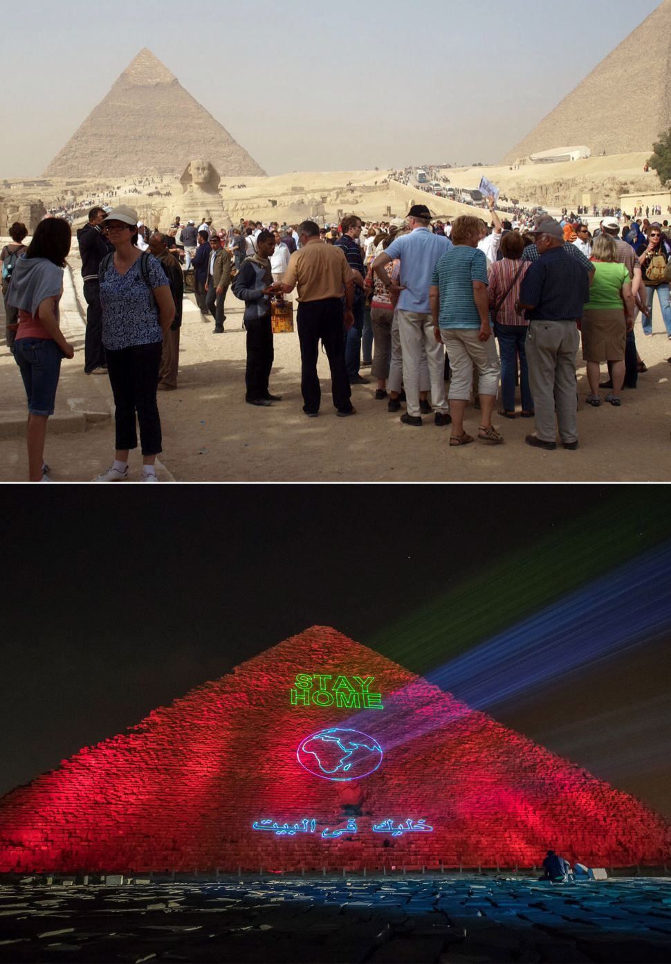 pyramids at giza egypt before and after coronavirus