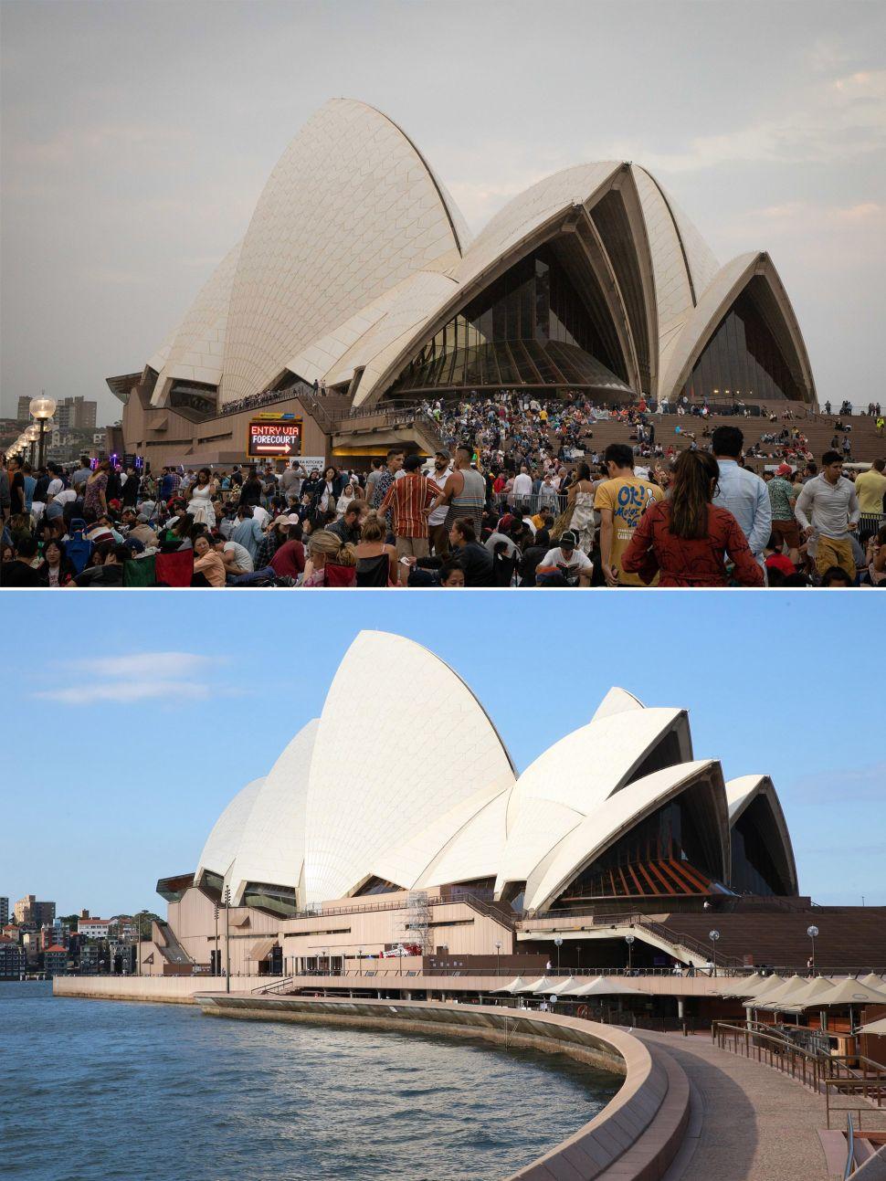 Sydney Opera House before and after coronavirus