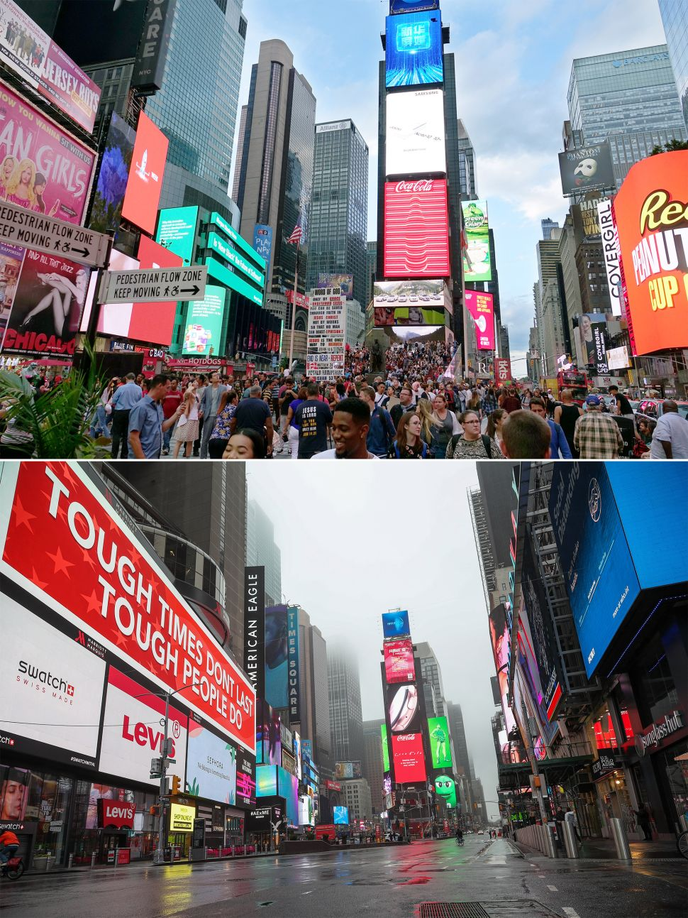 Times Square before and after coronavirus