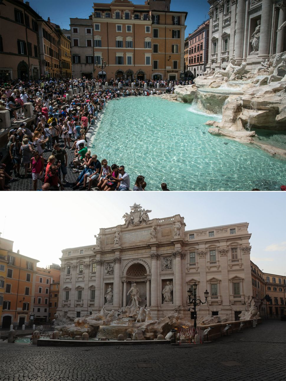 Trevi Fountain before and after coronavirus