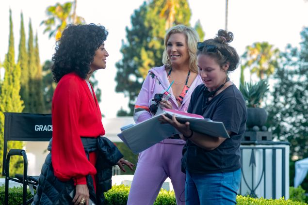 Actors Tracee Ellis Ross and June Diane Raphael with screenwriter Flora Greeson on the set of The High Note