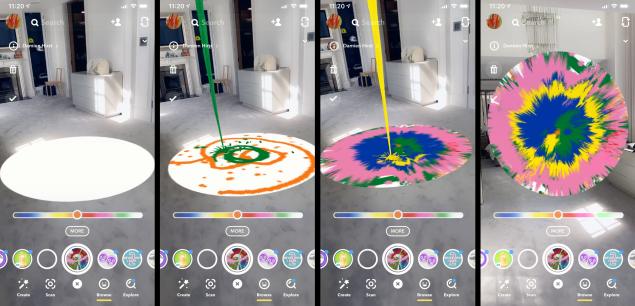 Ecco come ricreare un'opera di Damien Hirst su Snapchat (Fonte: The Observer - Snapchat).