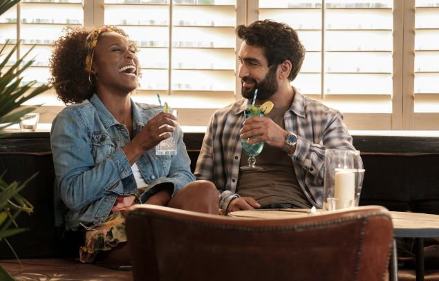 Issa Rae as Leilani, Kumail Nanjiani as Jibran in The Lovebirds