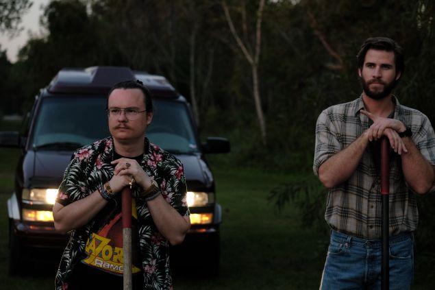 Clark Duke and Liam Hemsworth star in Duke's film Arkansas