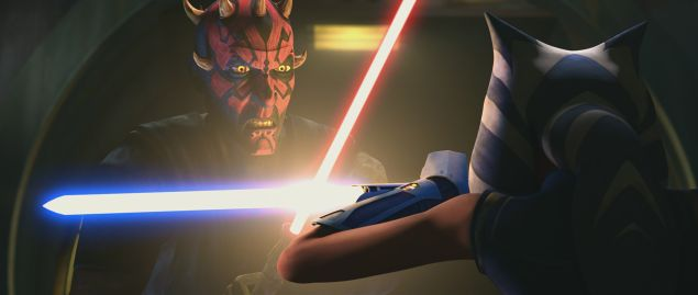 Darth Maul goes saber to saber with Ahsoka Tano in Star Was: The Clone Wars