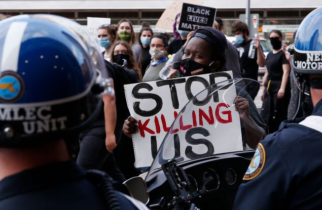 A peaceful protest and march in Boston