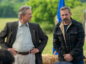Chris Cooper as Jack Hastings and Steve Carell as Gary Zimmer in Irresistible, written and directed by Jon Stewart