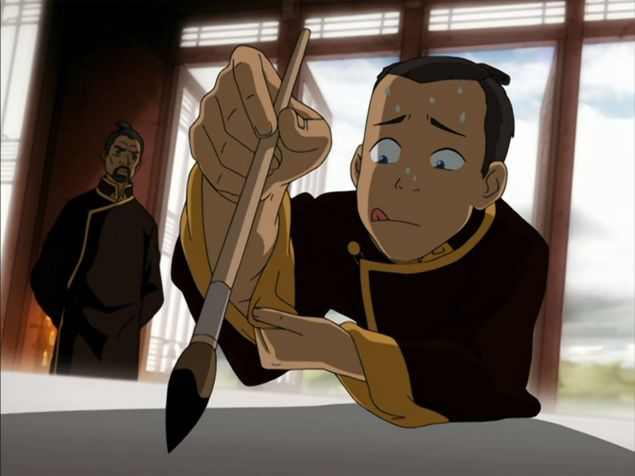 sokka attempts calligraphy in avatar the last airbender