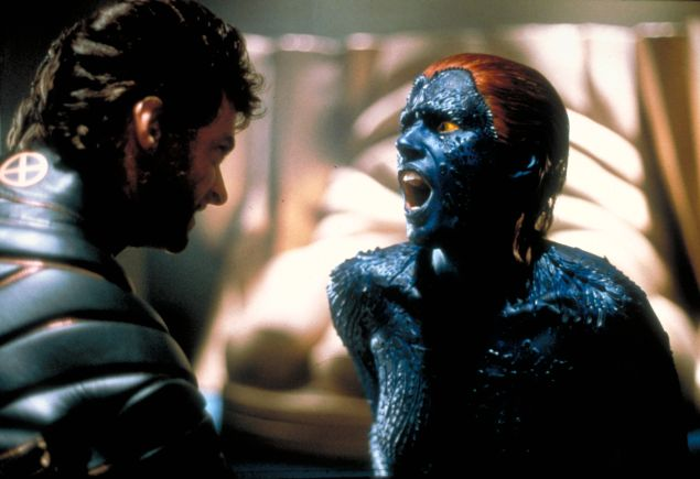 hugh jackman as wolverine and rebecca romijn as mystique