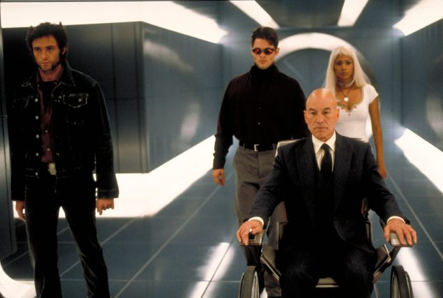 Hugh Jackman as Wolverine, James Marsden as Cyclops, Sir Patrick Stewart as Professor Xavier, and Halle Berry as Storm.